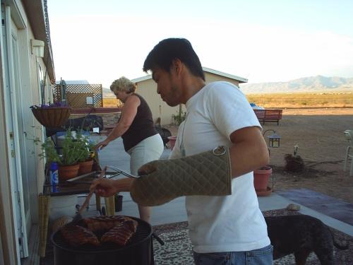 Yuji the BBQ master.  裕治
