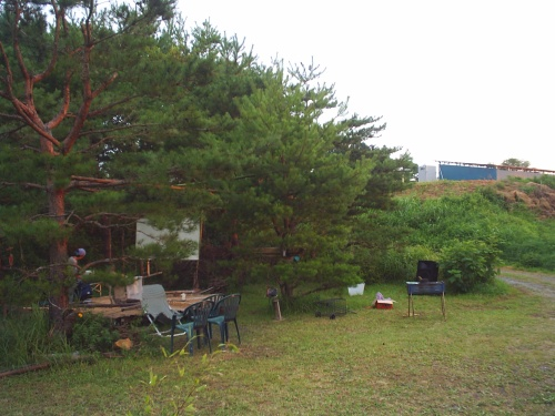 Way better than a drive-in...our theater in the trees. 森の中の映画館
